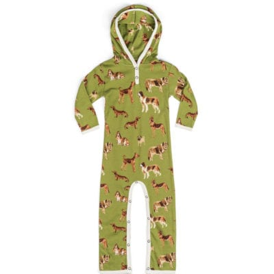 Green or Moss Color Organic Cotton Hooded Romper or Jumpsuit in the Green Dog Print by Milkbarn Kids
