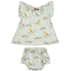 Light Blue or Pale Blue Baby Girl Bamboo Dress and Bloomers with the Blue Bird Print by Milkbarn Kids