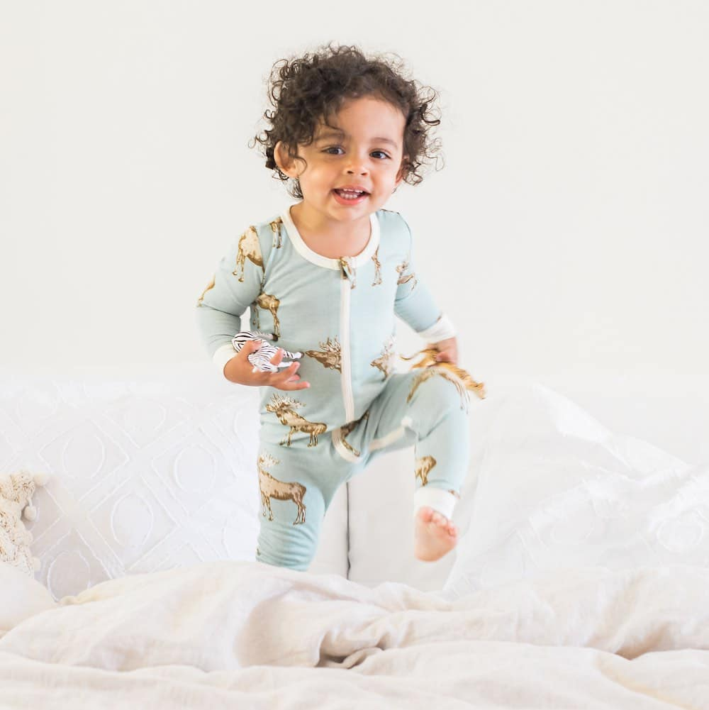 Milkbarn Zipper Pajama in Bamboo Blue Moose print