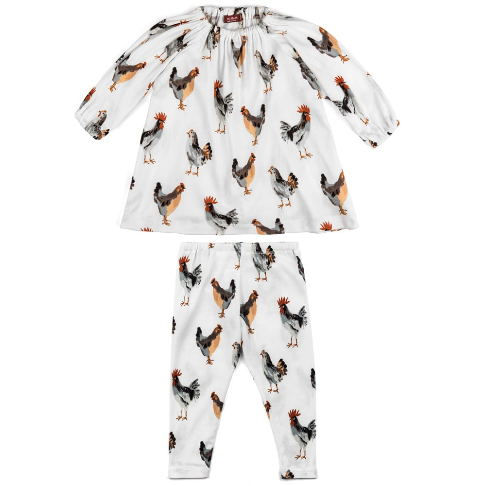 White or Natural Color Baby Girl Organic Cotton Dress and Leggings with the Chicken and Rooster Print by Milkbarn Kids