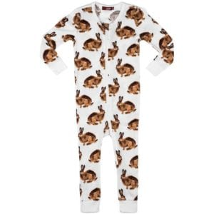 Milkbarn Kids Organic Cotton Zipper Pajama or PJs in the Bunny Print