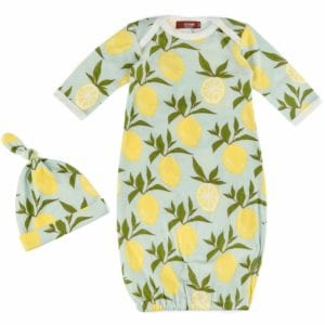 Milkbarn Kids organic newborn and baby gown and hat set in the lemon print