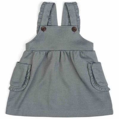 Baby or Child's Ruffle Dress Overalls in the Organic Cotton and Recycled Polyester Blend Denim Fabric by Milkbarn Kids (Front)