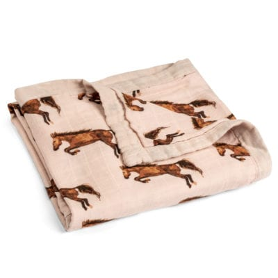 Folded Rose or Pink Color Big Lovey Blanket with the Horse or Stallion or Mare Print Made of Organic Cotton and Bamboo by Milkbarn Kids