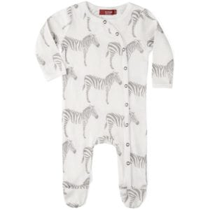 Milkbarn Kids Organic Baby Footed Romper Jumpsuit or Footie in the Grey Zebra Print