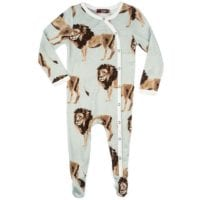 37097 - Milkbarn Kids Bamboo Baby Footed Romper in the Lion Print