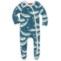 37104 - Milkbarn Kids Bamboo Baby Footed Romper in the Blue Whale Print