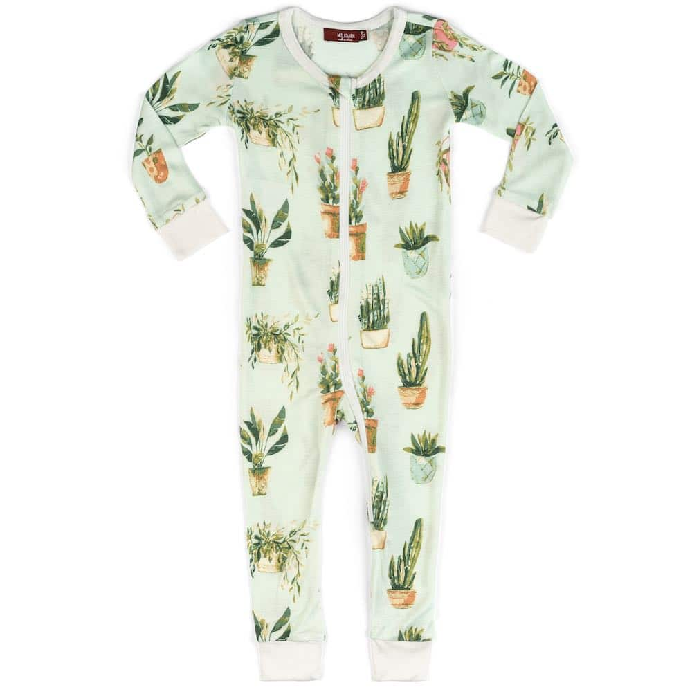Milkbarn Kids Bamboo Baby Zipper Pajama or PJs in the Possted Plants or Succulent Print
