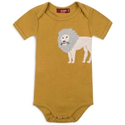Rust or Mustard Colored Organic Cotton Baby One Piece or Onesie with the Lion Applique by Milkbarn Kids