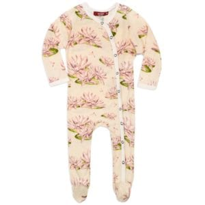 Milkbarn Kids Bamboo Footed Romper Jumpsuit or Footie in the Water Lily Print