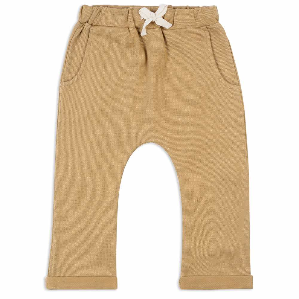 Jogger Pant or Lounge Pant in the Organic Cotton and Recycled Polyester Blend Rust Denim by Milkbarn Kids (Front)