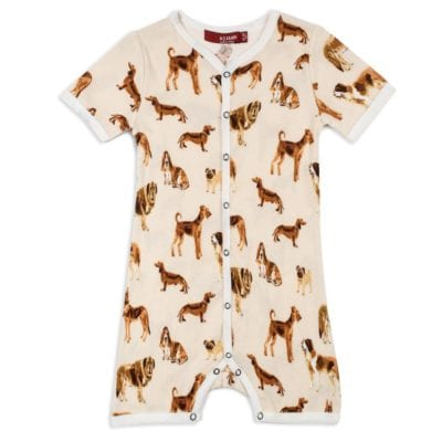 Organic Cotton Baby Shortall, Playsuit or Short Overalls in the Natural Dog Print by Milkbarn Kids