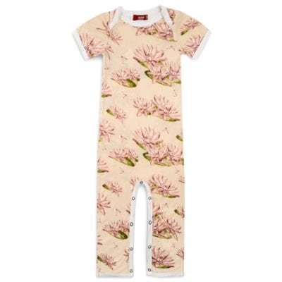 Bamboo Baby Romper Jumpsuit in the Water Lily Print by Milkbarn Kids