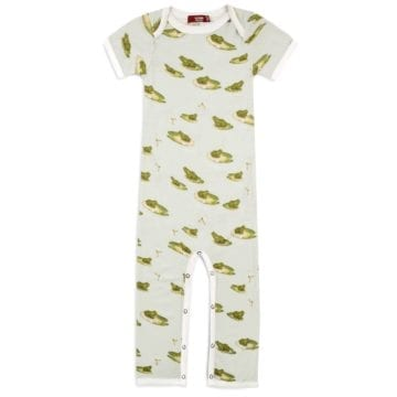 Bamboo Baby Romper Jumpsuit in the Leapfrog Print by Milkbarn Kids