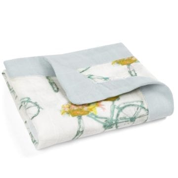 Mini Lovey Organic Cotton and Bamboo Security Blanket in the Floral Bicycle Print by Milkbarn Kids Folded