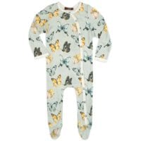 37117 - Butterfly Bamboo Footed Romper by Milkbarn Kids