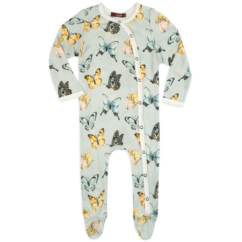 Butterfly Bamboo Footed Romper by Milkbarn Kids